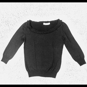 Valentino Deep Navy Pleated Neck Cotton Sweater SM